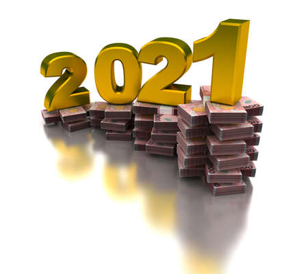 Growing New Zealand Economy 2021 (isolated on white background)