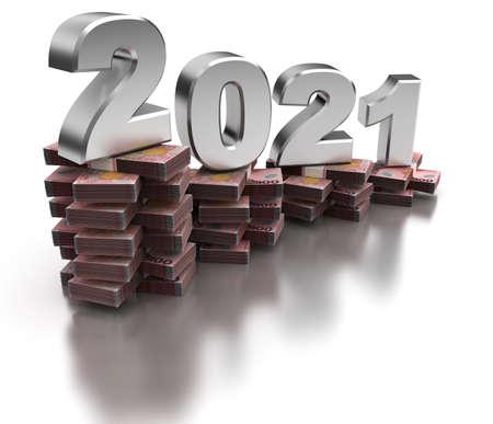 Bad New Zealand Economy 2021 (isolated on white background) Stock Photo