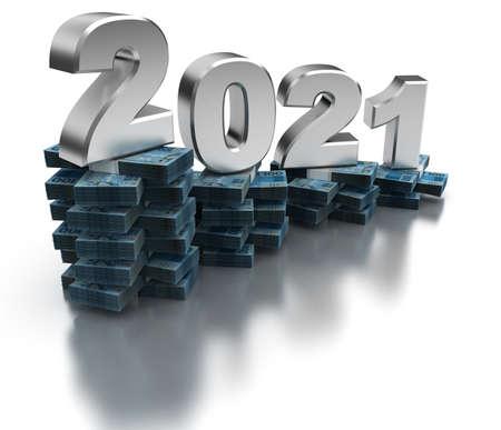 Bad Brazil Economy 2021 (isolated on white background)