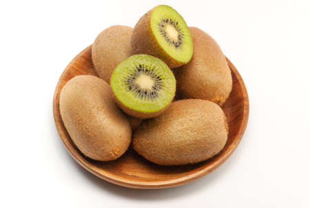 Single Kiwi Fruits On Sackcloth