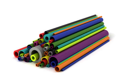 Colorful Plastic pipes on white background