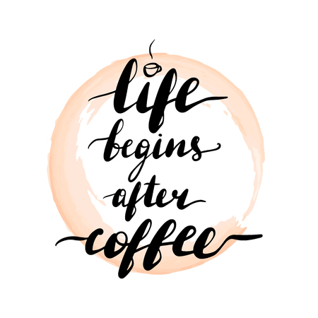 Lettering inscription life begins after coffee. Vector illustration. Cup of coffee.