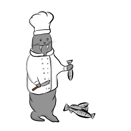 Cute cartoon walrus in a white chef costume cuts the fish with a knife. Hand drawn vector illustration isolated on white background, clipart.