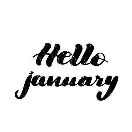 Inspirational handwritten brush lettering inscription hello january. Vector illustration isolated on white background with light texture.