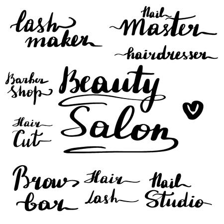 A set of beautiful lettering inscriptions for a beauty salon. Hand written vector illustration, clipart. Lash maker, nail master, hairdresser, barber shop, beauty salon, hair cut, brow bar, studio. Stock Illustratie