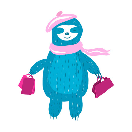 Cute sloth in a pink beret and a scarf comes with shopping bags, the concept of shopping.  イラスト・ベクター素材