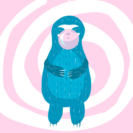 Cartoon cute blue sloth inflates a bubble of gum. Vector illustration. Ilustração