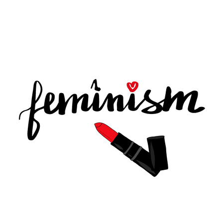 Schriftzug Inschrift Feminismus. Feministischer Slogan. Roter Lippenstift. Vektor-Illustration.