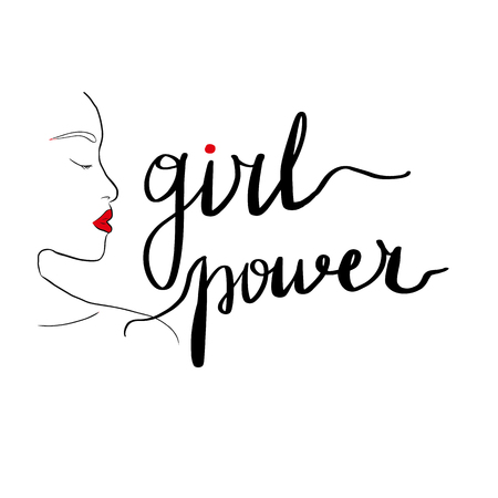 Lettering inscription girl power. Feminist slogan. Silhouette of a girl with red lips. Vector illustration.