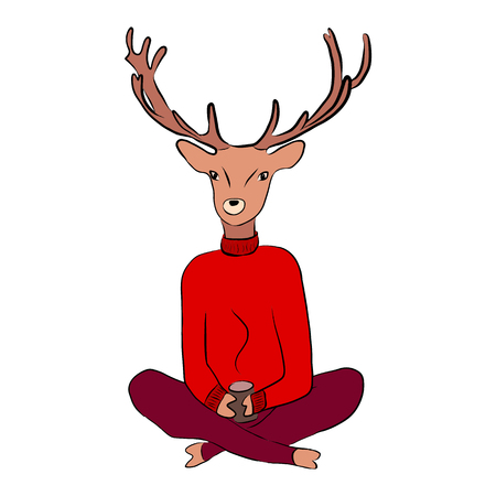A deer in a sweater is drinking tea, vector illustration on a white background. Vettoriali