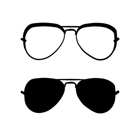Sunglasses in black and white. Vector illustration, clipart.
