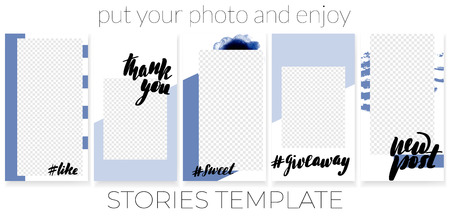 Trendy editable template for social networks stories, vector illustration. Best design backgrounds for social media. Inscriptions like, thank you, sweet, give away, new post. Illustration