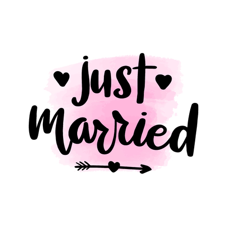 Inspirational handwritten brush lettering inscription just married. Pink watercolor stain on background. Vector Illustratie