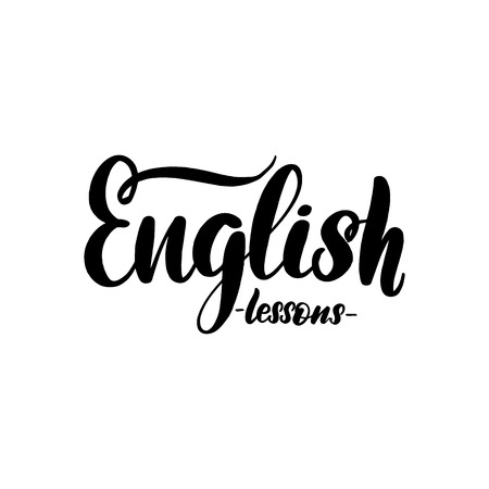 English lessons lettering card. Typographic design isolated on white background. Vector illustration.