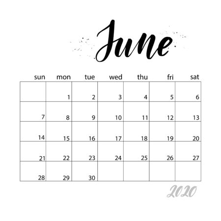 June. Monthly calendar for 2020 year. Handwritten modern calligraphy headlines. Elegant and stylish. Week starts on Sunday. Perfect for planners, calendars, organizers. 矢量图像
