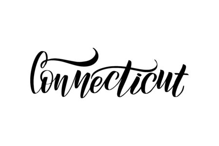 Inspirational handwritten brush lettering Connecticut. Vector calligraphy illustration isolated on white background.