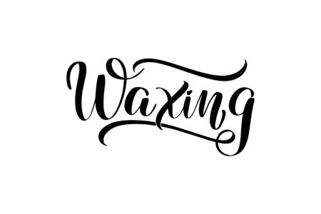 Inspirational handwritten brush lettering waxing. Vector calligraphy illustration isolated on white background. Ilustrace