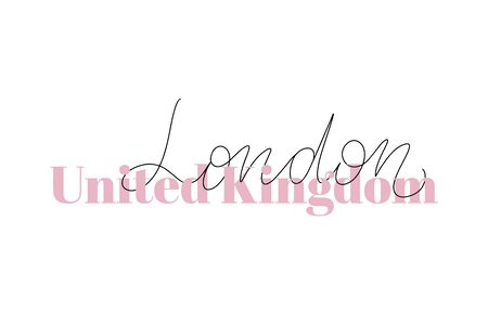 Inspirational handwritten brush lettering United Kingdom London. Vector calligraphy illustration isolated on white background. Typography for banners, badges, postcard, t-shirt, prints, posters. Illustration