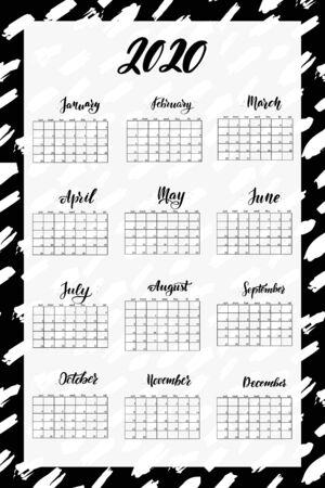 Brush lettering 2020 year wall calendar. English language. Ilustração