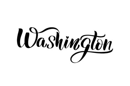 Inspirational handwritten brush lettering Washington. Vector calligraphy illustration isolated on white background. Typography for banners, badges, postcard, t-shirt, prints, posters. 일러스트
