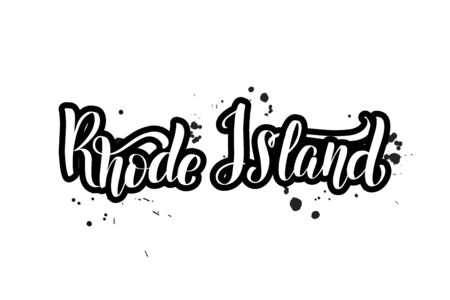 Inspirational handwritten brush lettering Rhode Island. Vector calligraphy illustration isolated on white background. Typography for banners, badges, postcard, t-shirt, prints, posters.