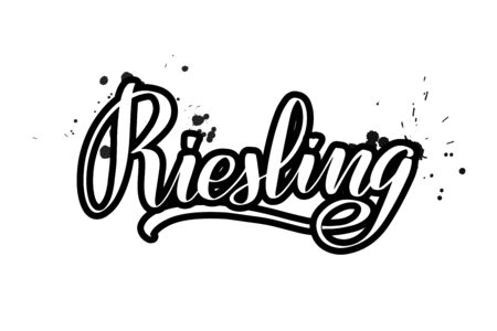 Inspirational handwritten brush lettering Riesling. Vector calligraphy illustration isolated on white background. Typography for banners, badges, postcard, t-shirt, prints, posters.