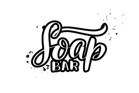 Inspirational handwritten brush lettering Soap bar. Vector calligraphy illustration isolated on white background. Typography for banners, badges, postcard, t-shirt, prints, posters. Ilustração