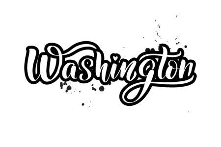 Inspirational handwritten brush lettering Washington. Vector calligraphy illustration isolated on white background. Typography for banners, badges, postcard, t-shirt, prints, posters. Ilustração