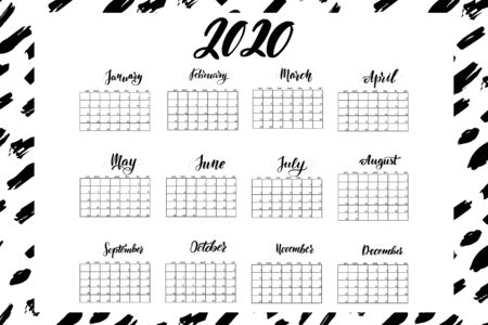 Brush lettering 2020 year wall calendar. English language. Illustration