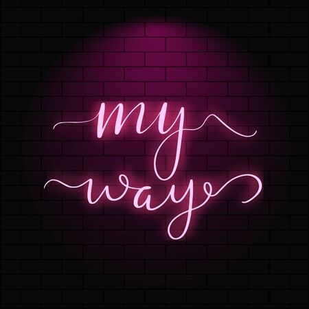 Neon glowing lettering on a brick wall background.