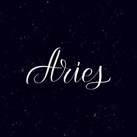 Chalkboard blackboard lettering Aries. Handwritten calligraphy text, chalk on a blackboard, vector illustration. Greetings for badge, icon. Archivio Fotografico - 134344479