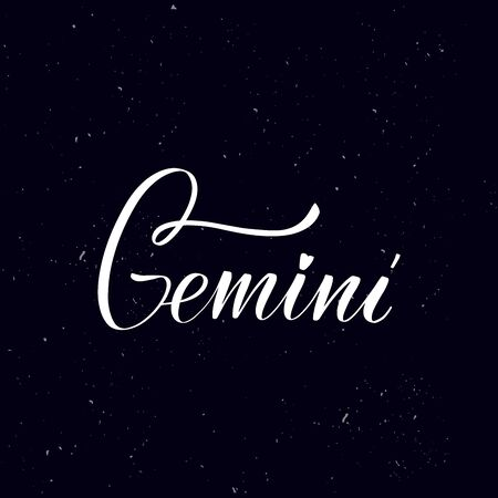 Chalkboard blackboard lettering Gemini. Handwritten calligraphy text, chalk on a blackboard, vector illustration. Greetings for badge, icon. Archivio Fotografico - 134344649
