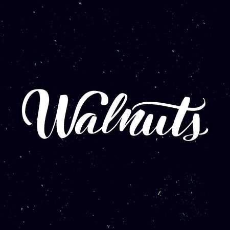 Chalkboard blackboard lettering Walnuts. Handwritten calligraphy text, chalk on a blackboard, vector illustration. Greetings for logotype, badge, icon.