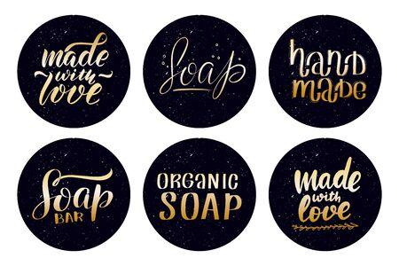 Stickers with hand drawn typography lettering inscriptions. Illustration