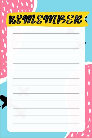 Remember. To do list with retro background and trendy lettering. Memphis style. Template for agenda, planners, check lists, and other stationery. Isolated. Vector stock illustration.