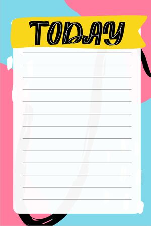 Today. To do list with retro background and trendy lettering. Memphis style. Template for agenda, planners, check lists, and other stationery. Isolated. Vector stock illustration. Ilustracja
