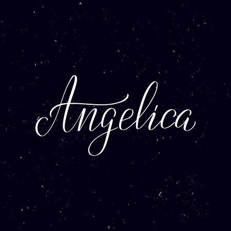 Chalkboard blackboard lettering Angelica. Handwritten calligraphy text, chalk on a blackboard, vector illustration. Greetings for logotype, badge, icon. 向量圖像