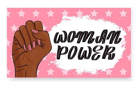 Feminism, girl power concept. Female revolution, Afro american woman hand. Vector stock illustration templates with lettering design for card, poster, flyer, banner, badge, postcard, t-shirt, print. Ilustração