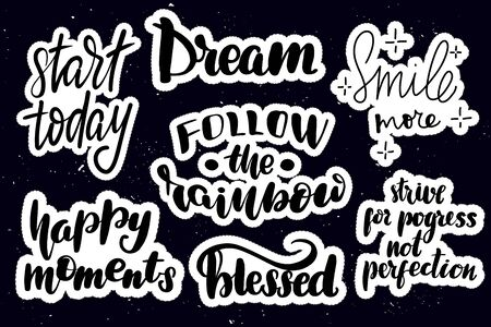 Set of handwritten lettering labels. Stickers with hand drawn typography inscriptions. Great vector stock calligraphy illustrations for handmade and scrapbooking, diaries, cards, badges, social media.