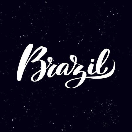 Chalkboard blackboard lettering Brazil. Handwritten calligraphy text, chalk on a blackboard, vector stock illustration. Greetings for logotype, badge, icon. Ilustracja