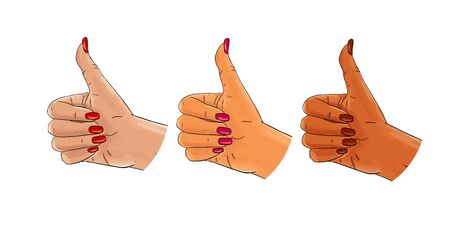 Hand gesture, thumbs up, pop art sketch, white, afro american, asian set