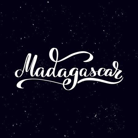 Chalkboard blackboard lettering Madagascar. Handwritten calligraphy text, chalk on a blackboard, vector stock illustration. Greetings for logotype, badge, icon.