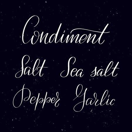 Chalkboard blackboard lettering Condiment, Salt, Sea salt, Pepper Garlic. Handwritten calligraphy text, chalk on a blackboard, vector illustration. Greetings for logotype, badge, icon.