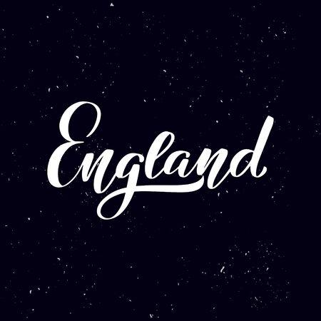 Chalkboard blackboard lettering England. Handwritten calligraphy text, chalk on a blackboard, vector stock illustration. Greetings for logotype, badge, icon. Ilustracja