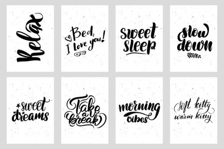 Good night lettering postcard set. Sleep quote. Sweet cute hand drawn inspiration typography. Calligraphy postcard poster graphic design element. Hand written sign, vector stock illustration.