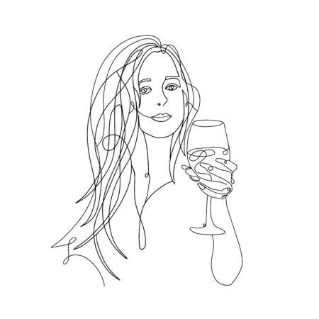 woman beauty minimalist, vector stock one line illustration Vecteurs