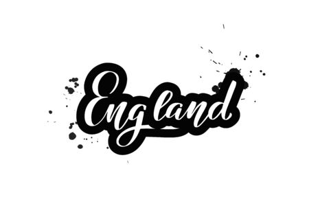 Inspirational handwritten brush lettering England. Vector calligraphy illustration isolated on white background. Typography for banners, badges, postcard, t-shirt, prints, posters.