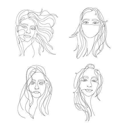 woman beauty minimalist, vector stock one line illustration