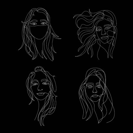 Continuous white line on black background, one line, drawing of face and hairstyle, fashion concept, woman beauty minimalist, vector stock illustration for t-shirt, slogan design print graphics style Stock fotó - 149708996