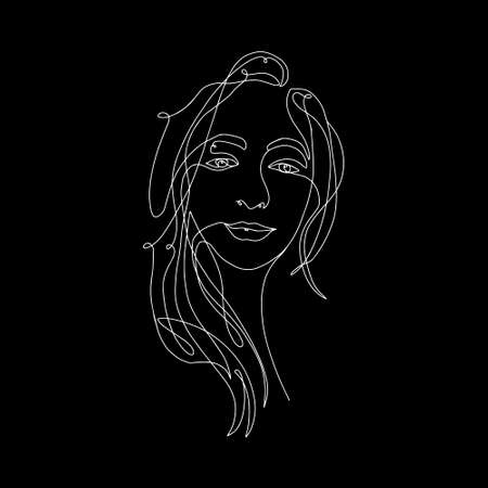 White line on black background. Continuous one line, drawing of face and hairstyle, fashion concept, woman beauty minimalist, vector stock illustration for t-shirt, slogan design print graphics style  イラスト・ベクター素材